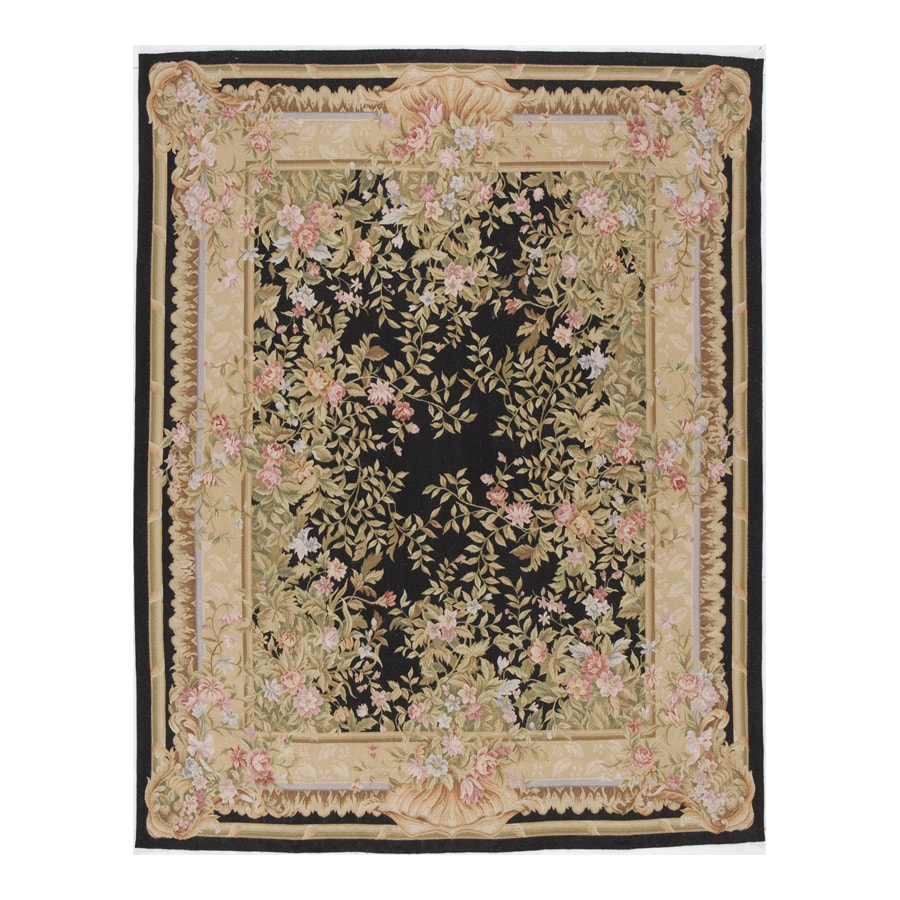 Shop Versailles Black Rectangular Indoor Hand Knotted
