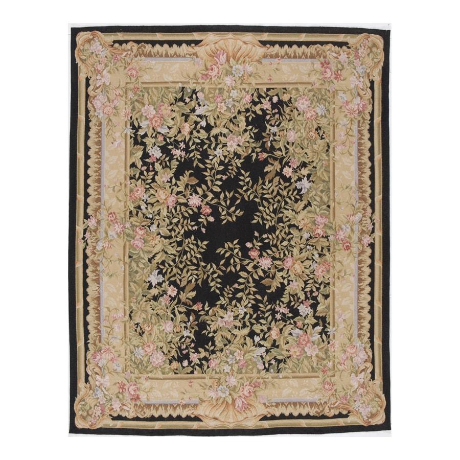 Versailles Black Rectangular Indoor Hand-Knotted Oriental Area Rug (Common: 8 x 10; Actual: 96-in W x 120-in L)