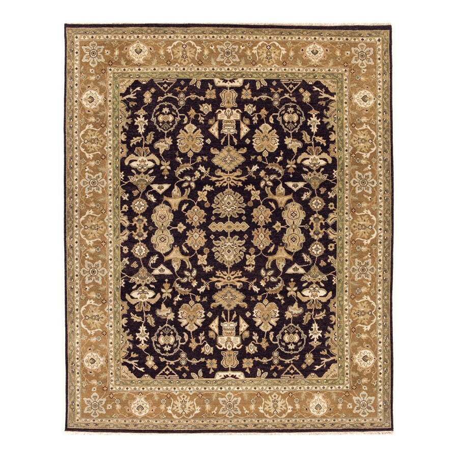 Delhi Black Rectangular Indoor Hand-Knotted Oriental Area Rug (Common: 9 x 12; Actual: 108-in W x 144-in L)