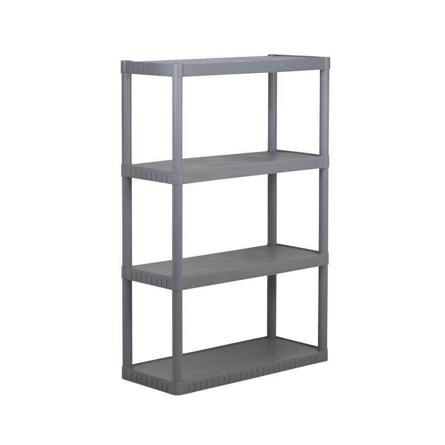 Blue Hawk 52.625-in H x 34.75-in W x 14.63-in D 4-Tier Plastic Freestanding Shelving Unit