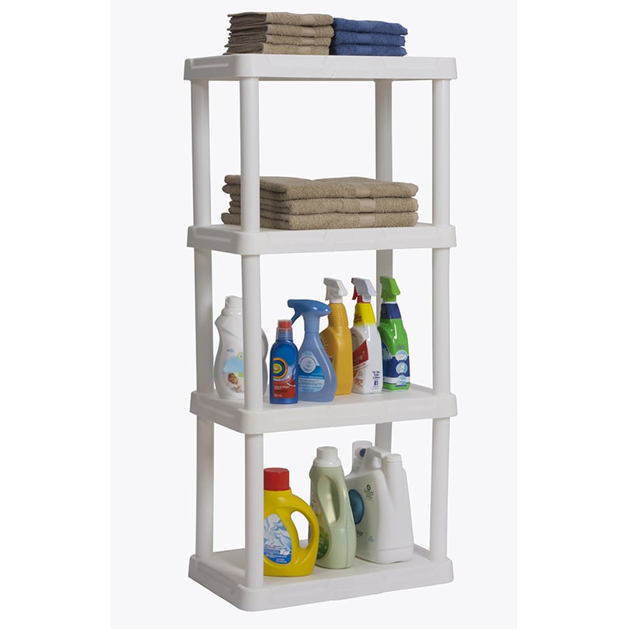 Blue Hawk 48-in H x 22-in W x 14.25-in D 4-Tier Plastic Freestanding Shelving Unit