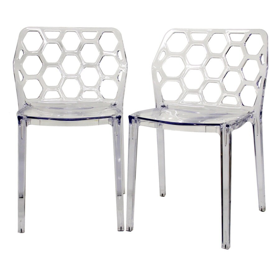 Baxton Studio Set of 2 Clear Stackable Side Chairs