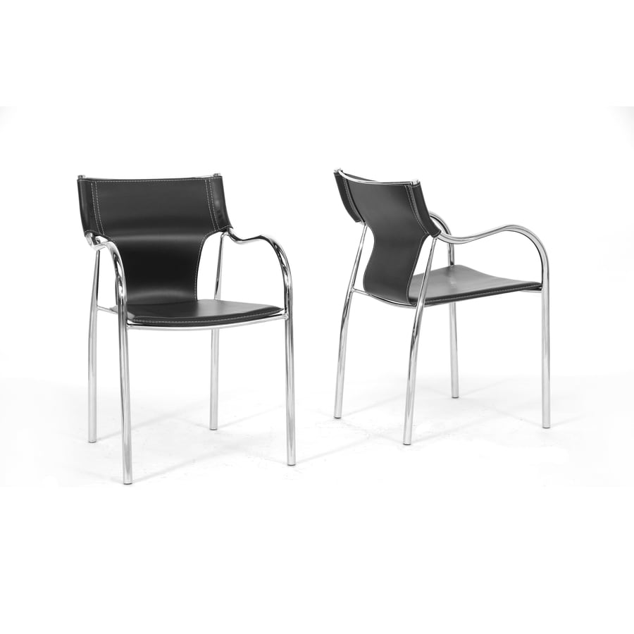 Baxton Studio Set of 2 Harris Black and Chrome Stackable Side Chair