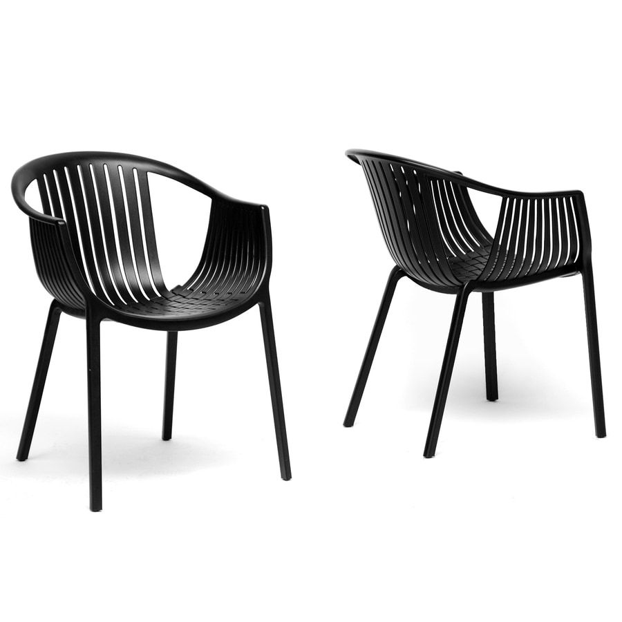 Baxton Studio Set of 2 Grafton Black Stackable Side Chair