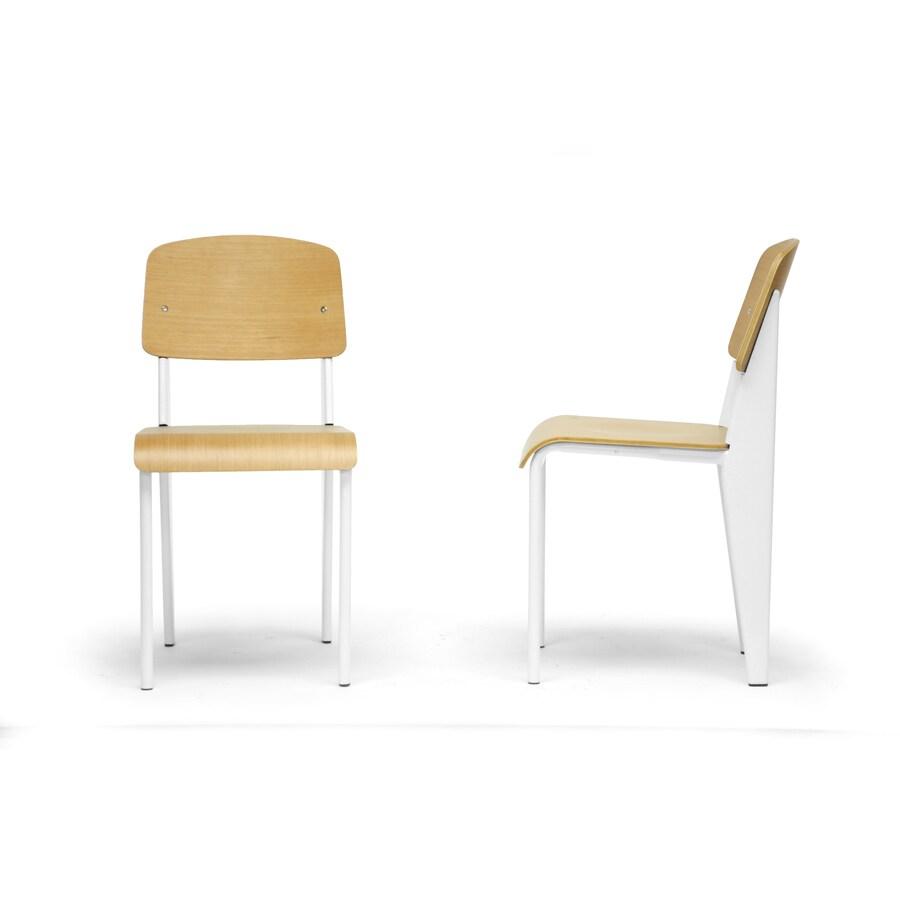 Baxton Studio Set of 2 Langsam Natural White Side Chairs