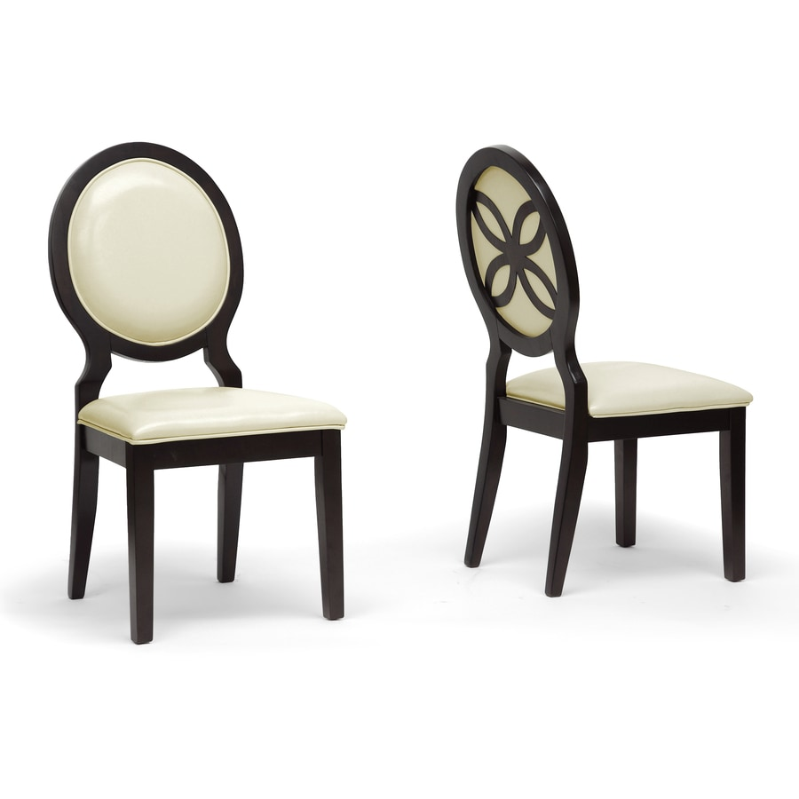 Baxton Studio Set of 2 Vandegriff Ivory and Dark Brown Side Chair