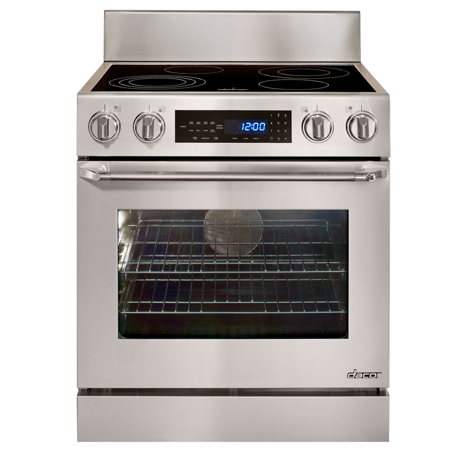 Dacor Distinctive Smooth Surface Freestanding 7-Element 4.8-cu ft Self-Cleaning Convection Electric Range (Stainless Steel with Chrome Trim) (Common: 30-in; Actual: 29.3125-in)