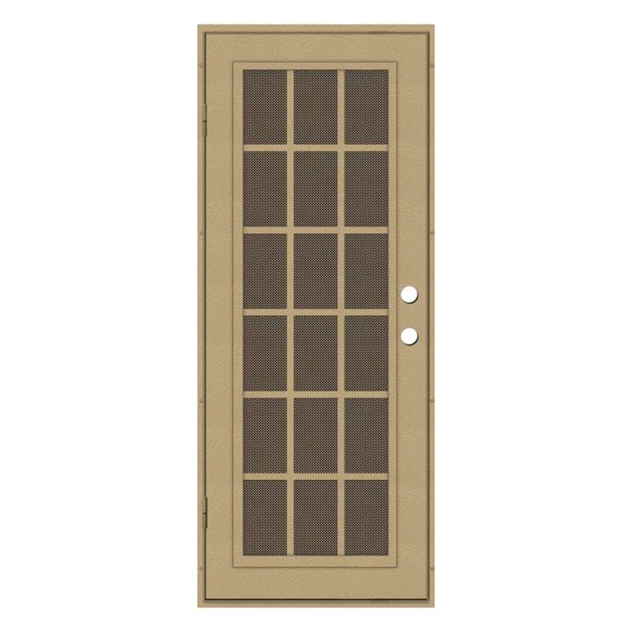 TITAN Classic French Powder-Coat Desert Sand Aluminum Surface Mount Single Security Door (Common: 32-in x 80-in; Actual: 34.5-in x 81.563-in)