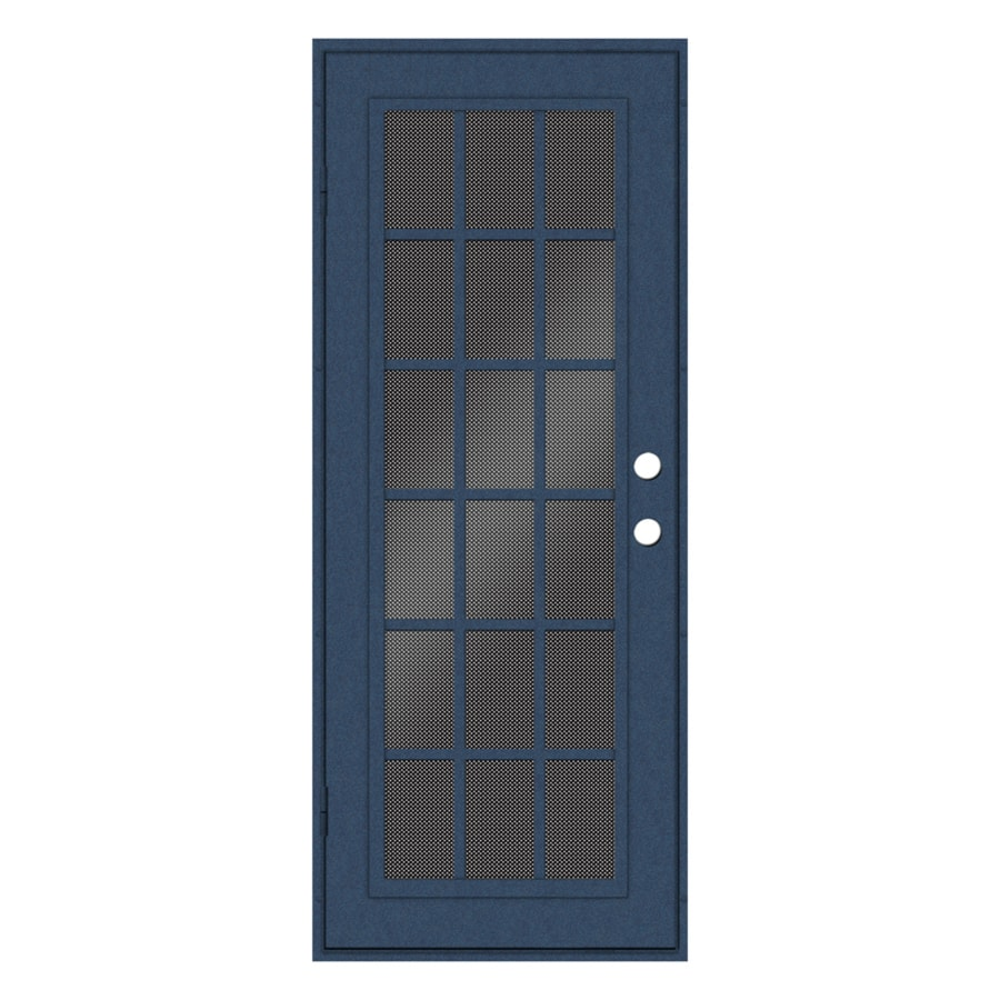 Shop titan classic french powder coat blue hammertone for Security doors for french doors