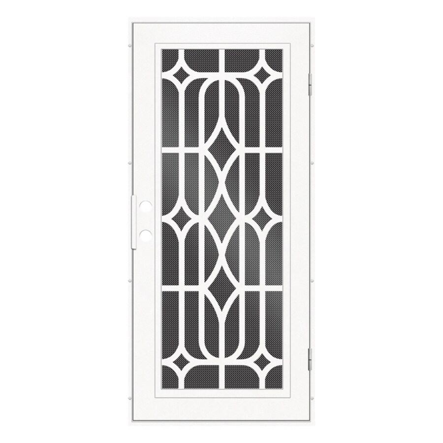 TITAN Essex Powder-Coat White Aluminum Surface Mount Single Security Door (Common: 36-in x 80-in; Actual: 38.5-in x 81.563-in)