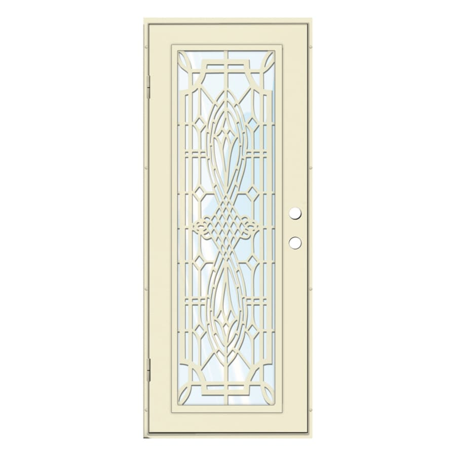 TITAN Folkstone Powder-Coat Beige Hammer Aluminum Surface Mount Single Security Door (Common: 30-in x 80-in; Actual: 32.5-in x 81.563-in)
