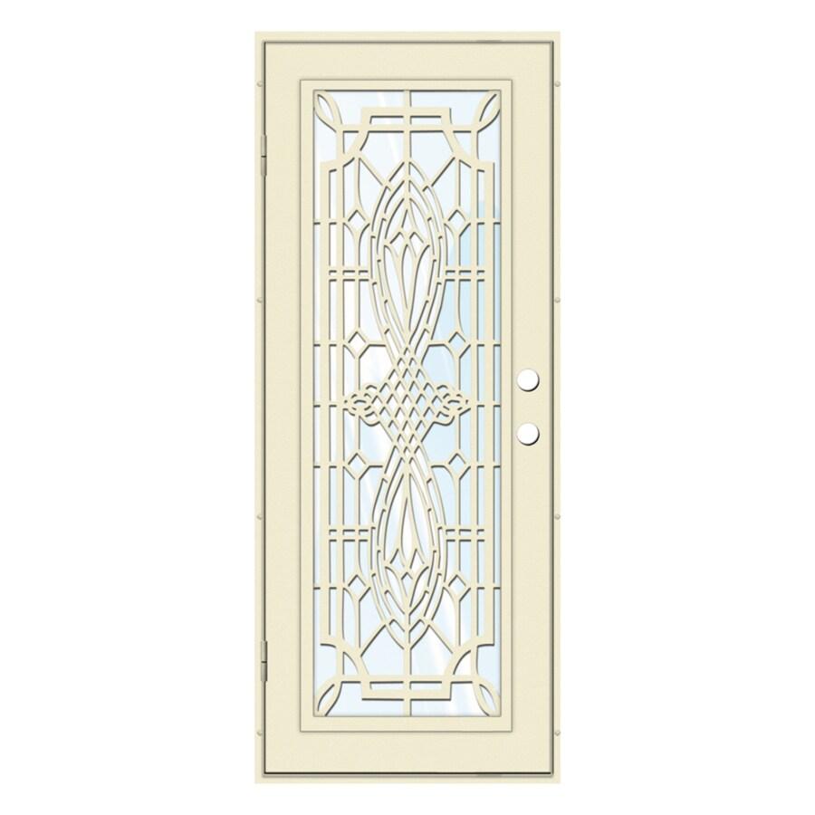 TITAN Folkstone Powder-Coat Beige Hammer Aluminum Surface Mount Single Security Door (Common: 32-in x 80-in; Actual: 34.5-in x 81.563-in)