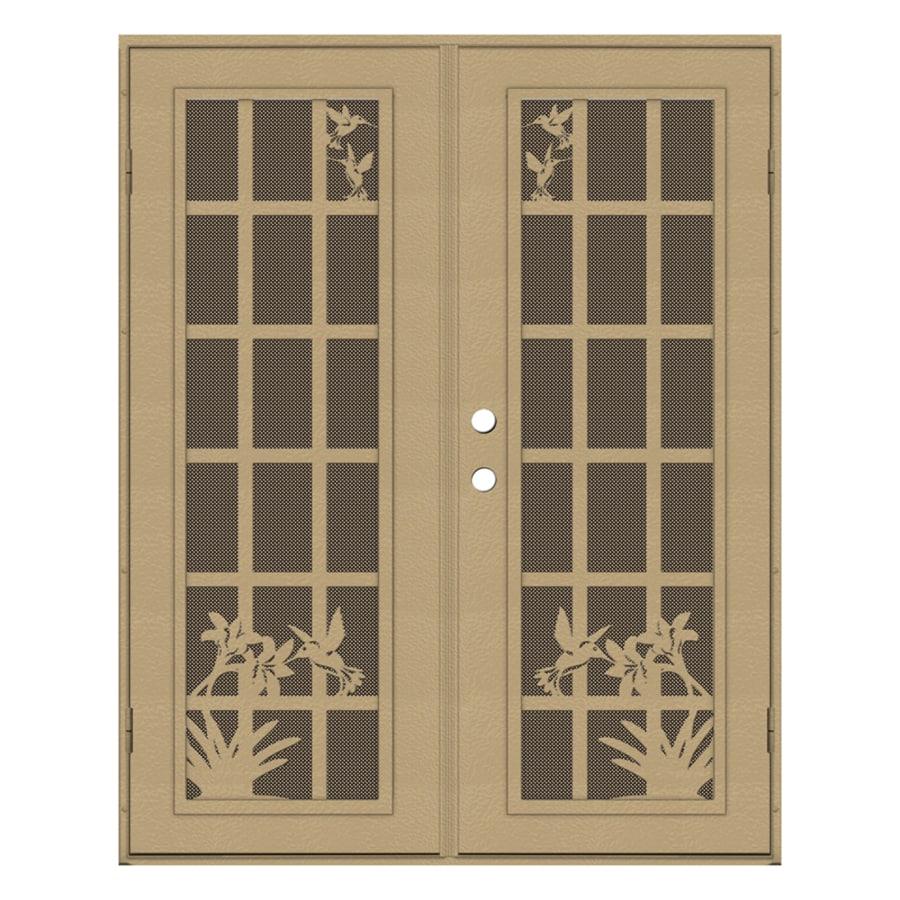 Shop titan french hummingbird powder coat desert sand for Security doors for french doors