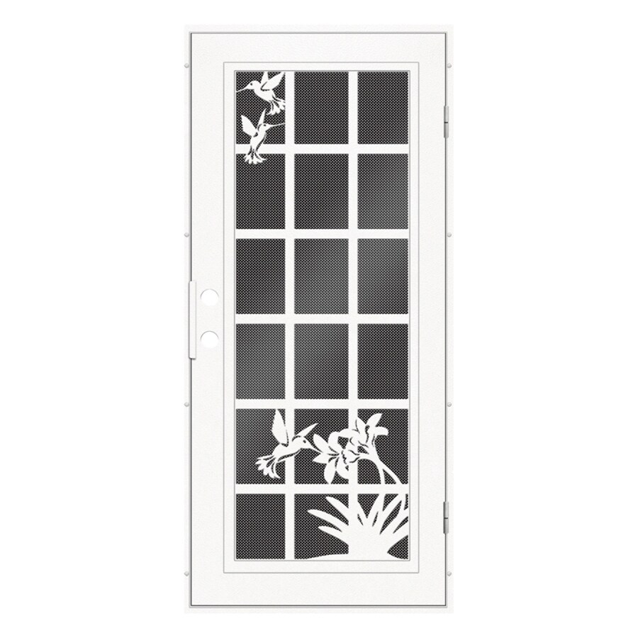 Shop titan french hummingbird powder coat white aluminum for Security doors for french doors