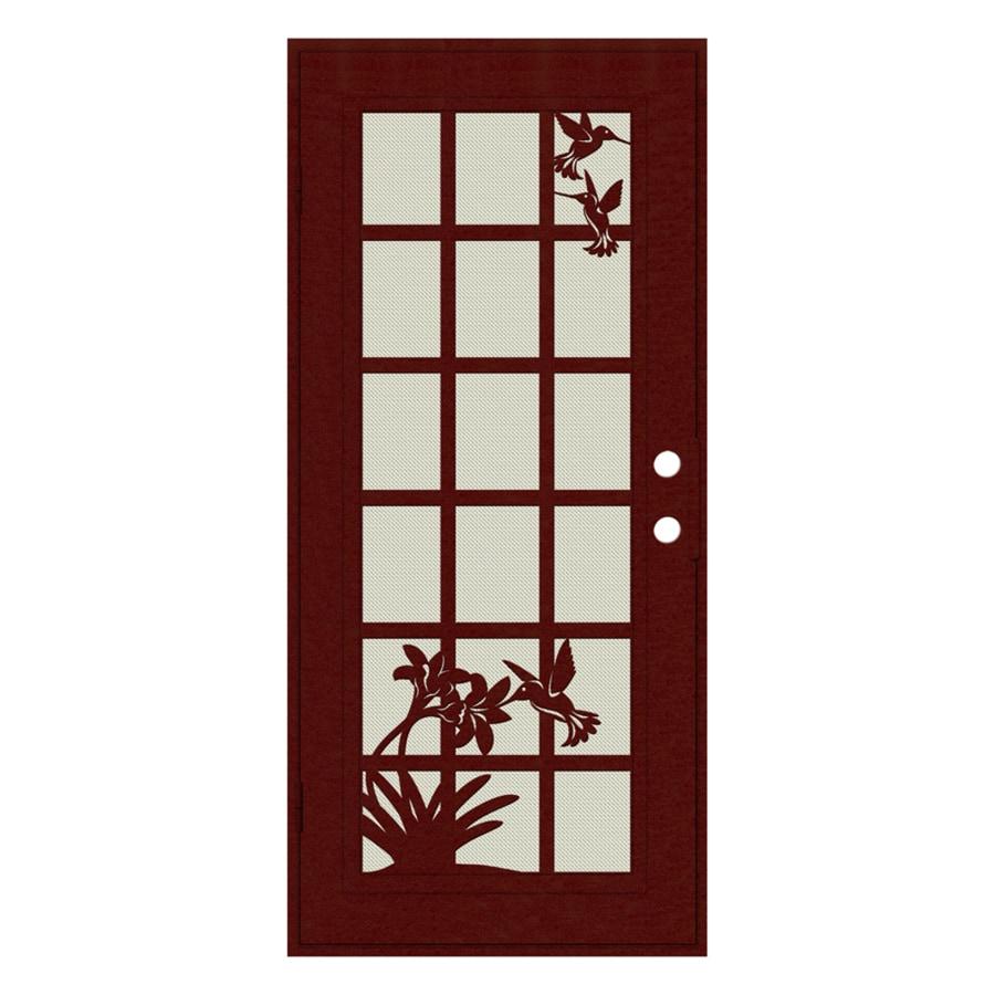 TITAN French Hummingbird Powder-Coat Wineberry Aluminum Recessed Mount Single Security Door (Common: 36-in x 80-in; Actual: 37.5-in x 81.563-in)