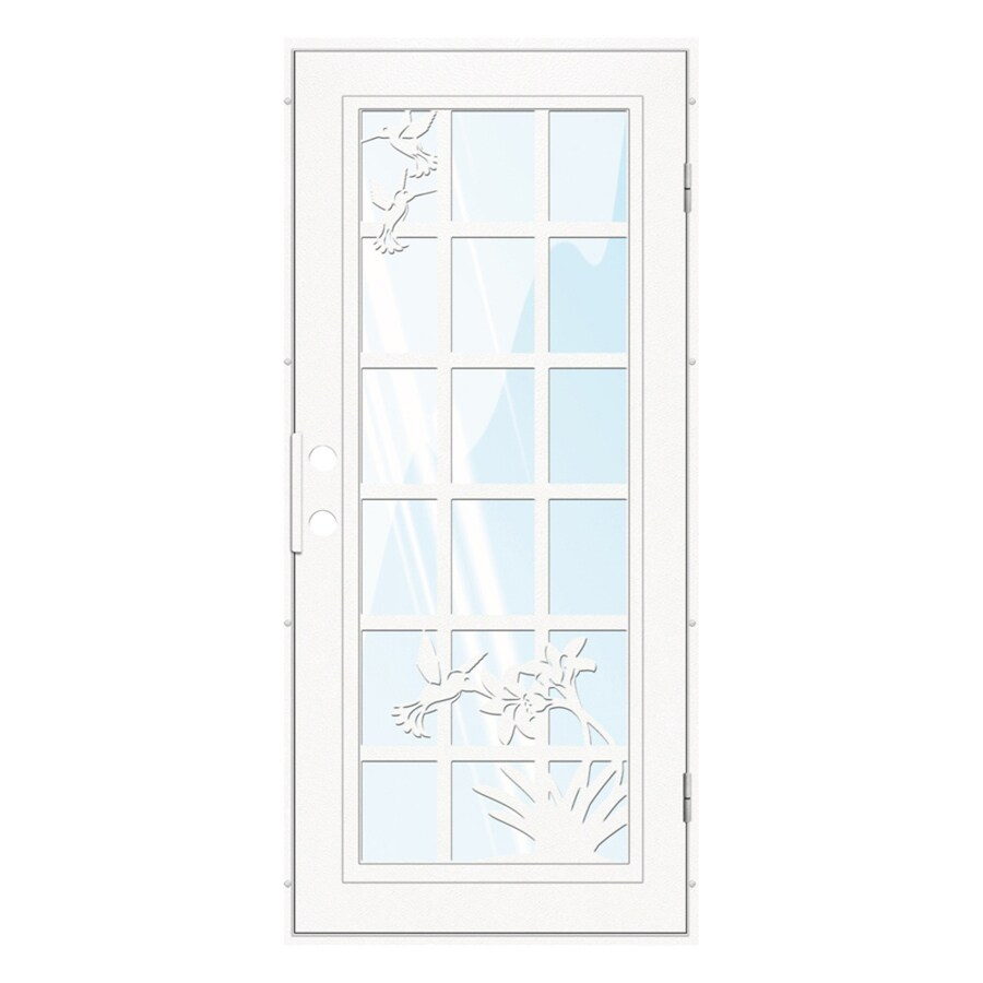 TITAN French Hummingbird Powder-Coat White Aluminum Recessed Mount Single Security Door (Common: 36-in x 80-in; Actual: 37.5-in x 81.563-in)