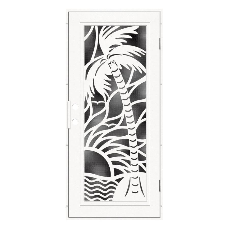TITAN Playa Powder-Coat White Aluminum Surface Mount Single Security Door (Common: 36-in x 80-in; Actual: 38.5-in x 81.563-in)