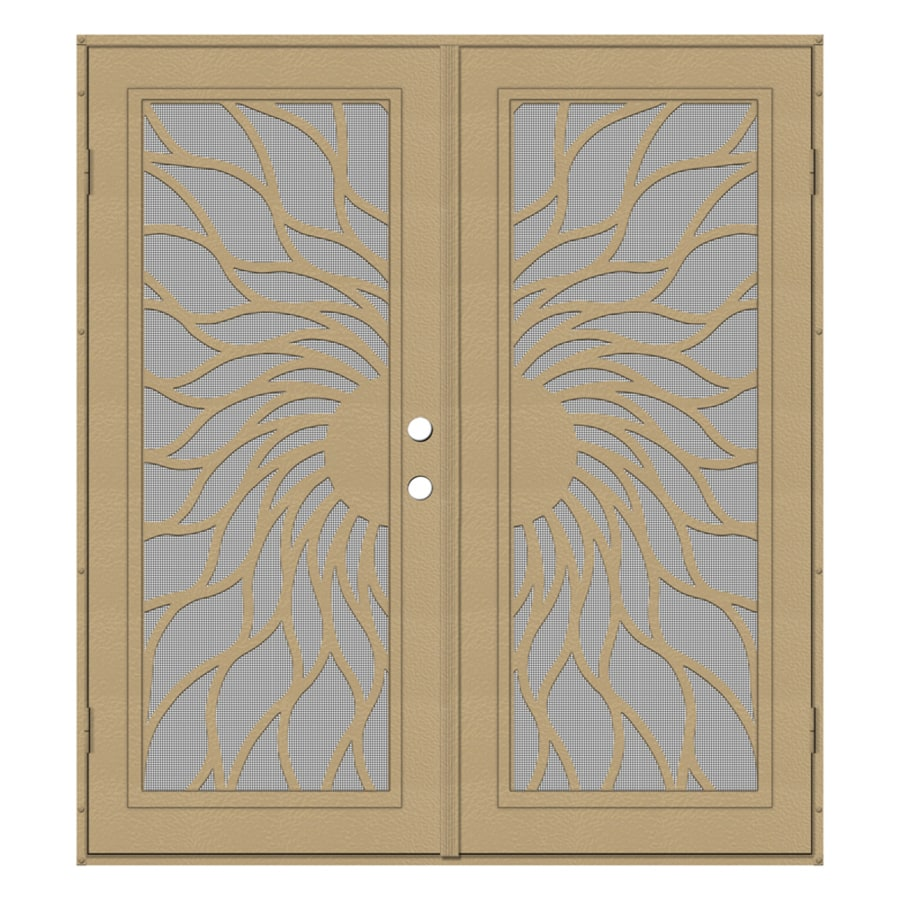 TITAN Sunfire Powder-Coat Desert Sand Aluminum Surface Mount Double Security Door (Common: 72-in x 80-in; Actual: 74.5-in x 81.563-in)