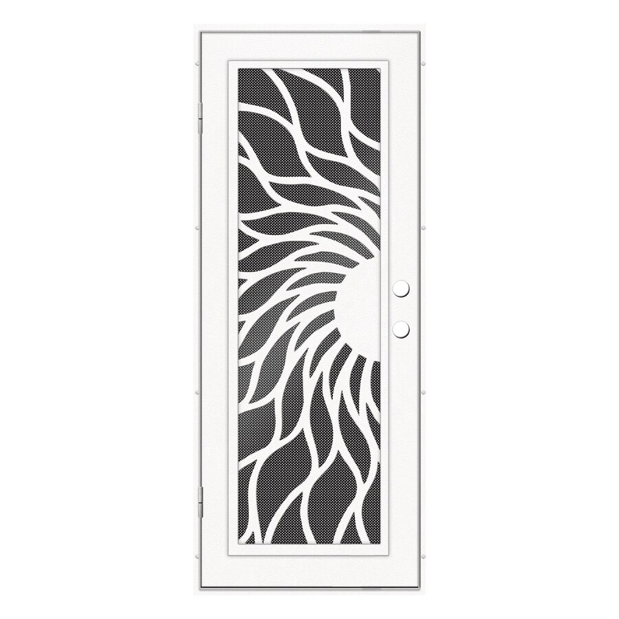 TITAN Sunfire Powder-Coat White Aluminum Recessed Mount Single Security Door (Common: 32-in x 80-in; Actual: 33.5-in x 81.563-in)