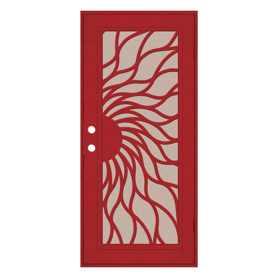 TITAN Sunfire Powder-Coat Red Hammertone Aluminum Recessed Mount Single Security Door (Common: 36-in x 80-in; Actual: 37.5-in x 81.563-in)