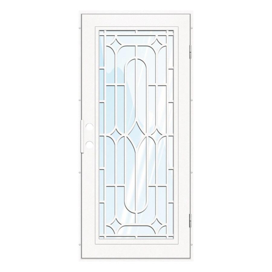 TITAN Winchester Powder-Coat White Aluminum Surface Mount Single Security Door (Common: 36-in x 80-in; Actual: 38.5-in x 81.563-in)