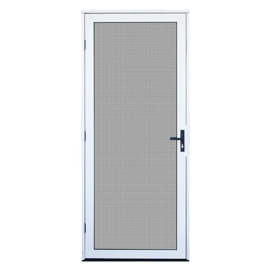 TITAN Meshtec White Aluminum Recessed Mount Single Security Door (Common: 32-in x 80-in; Actual: 34-in x 82-in)