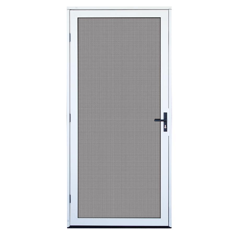 Shop titan meshtec white aluminum recessed mount single security door common 36 in x 80 in - Meshtec screen door ...