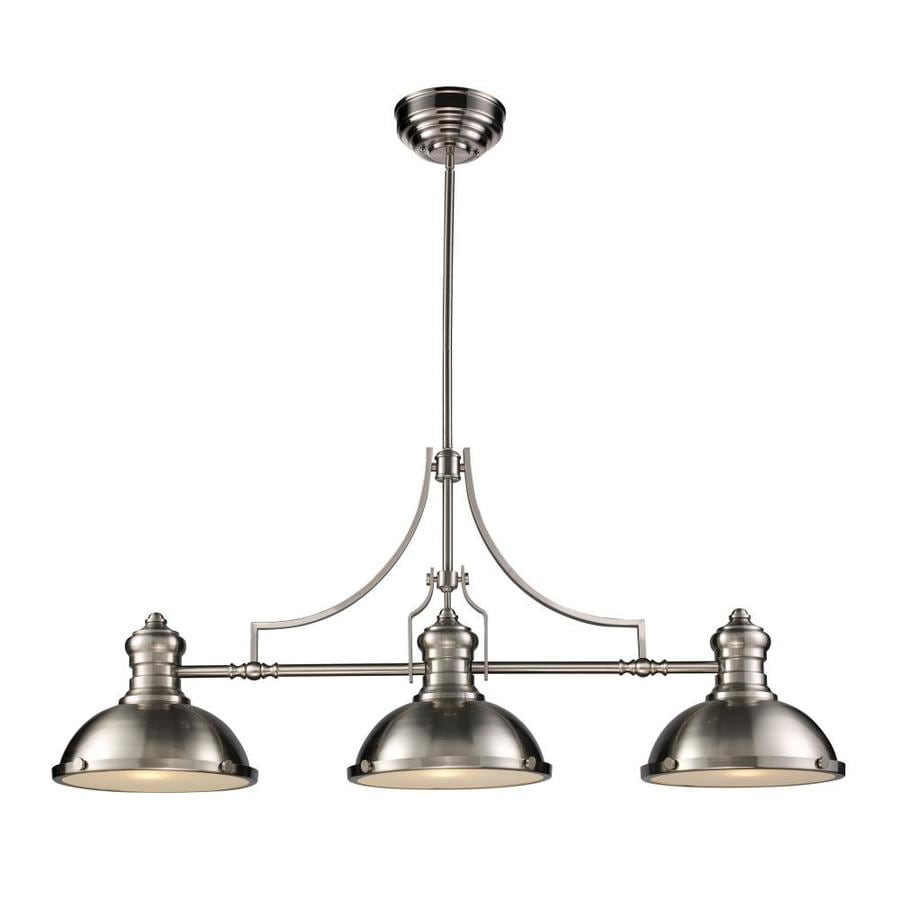 Westmore Lighting Chiserley 13-in W 3-Light Satin Nickel Kitchen Island Light with Frosted Shade