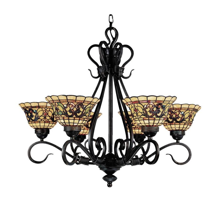 Westmore Lighting Saint Augustine 28-in 6-Light Vintage Antique Tiffany-Style Stained Glass Shaded Chandelier