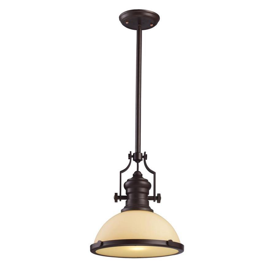 Westmore Lighting Chiserley 13-in Oiled Bronze Single Pendant