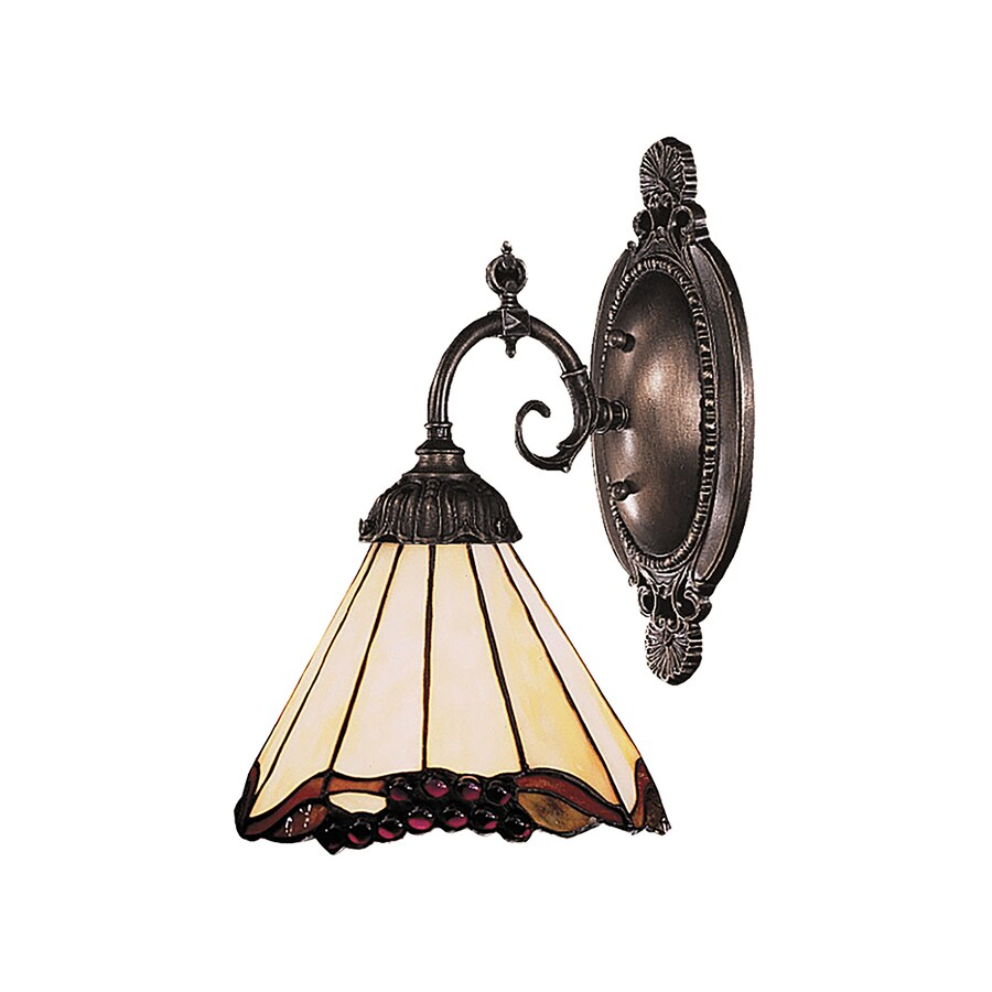 Westmore Lighting Bordeaux 5-in W 1-Light Weathered Black with Bronze Highlights Tiffany-Style Directional Hardwired Wall Sconce
