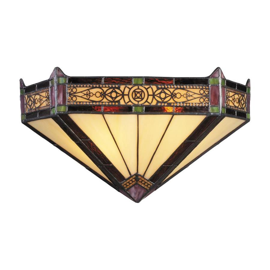 Westmore Lighting Filigree 14-in W 2-Light Aged Bronze Tiffany-Style Pocket Hardwired Wall Sconce