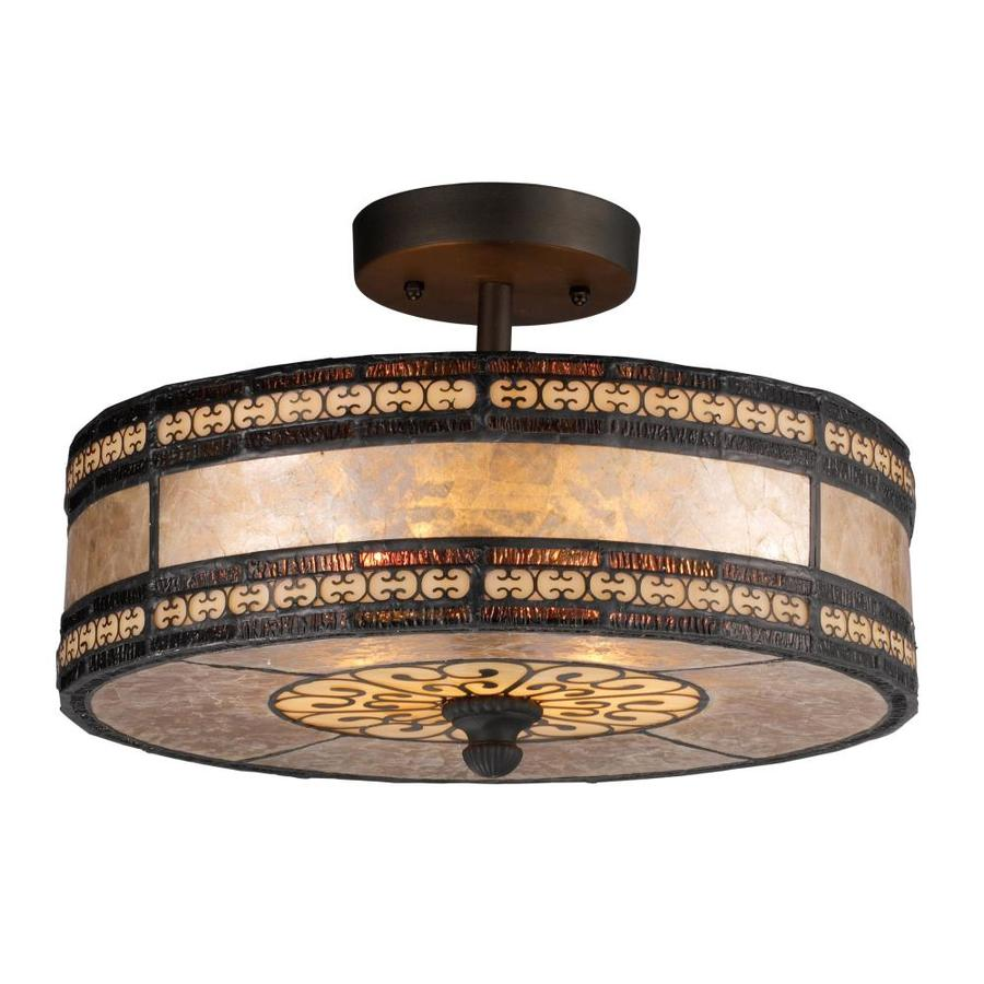 Westmore Lighting Lucca 14-in W Tiffany Bronze Alabaster Glass Tiffany-Style Semi-Flush Mount Light
