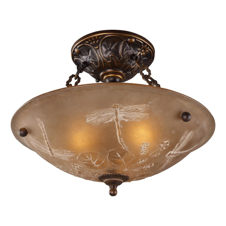 in w golden bronze frosted glass semi flush mount light at