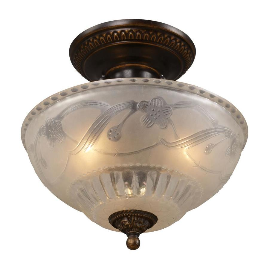 Westmore Lighting Westchester 11-in W Golden Bronze Frosted Glass Semi-Flush Mount Light
