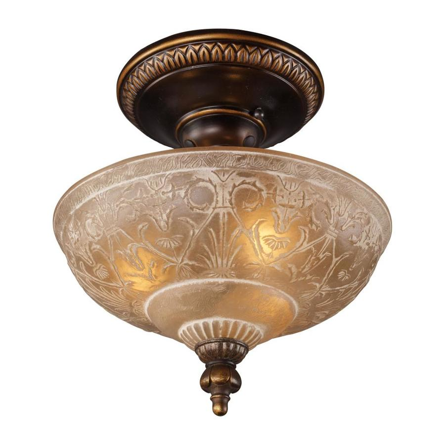Westmore Lighting Westchester 12-in W Golden Bronze Frosted Glass Semi-Flush Mount Light