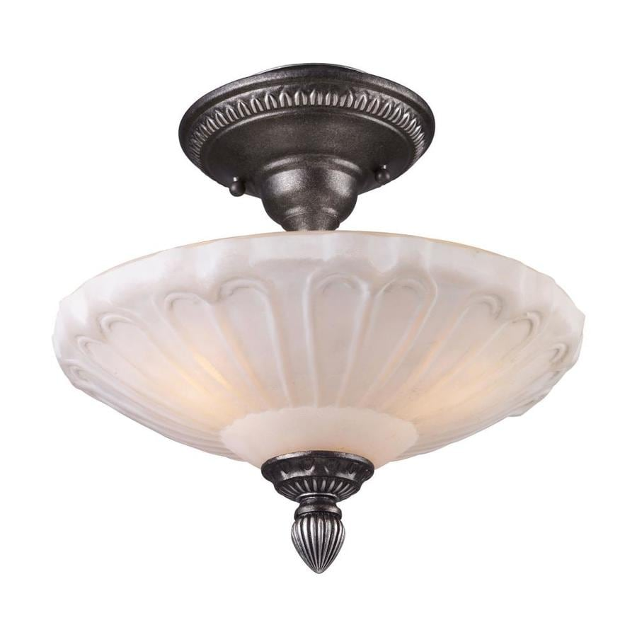 Westmore Lighting Westchester 12-in W Dark Silver Frosted Glass Semi-Flush Mount Light