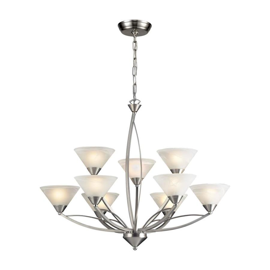 Westmore Lighting Beckett 34-in 9-Light Satin Nickel Candle Chandelier