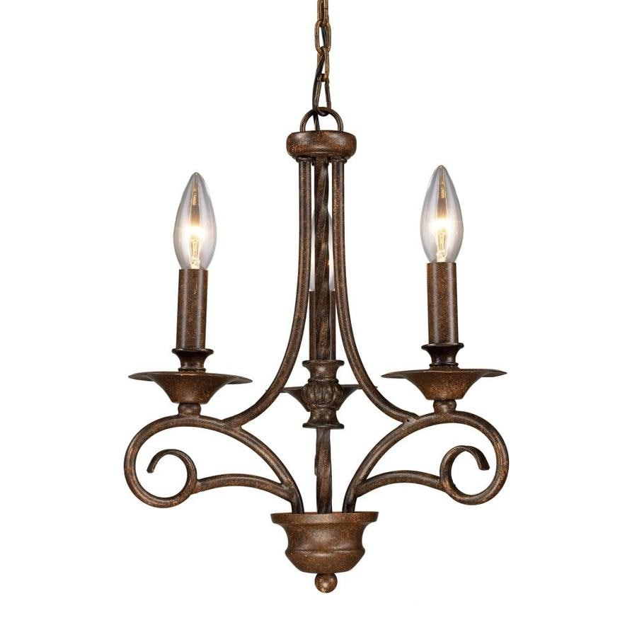 Westmore Lighting Topanga 12-in 3-Light Antique Bronze Rustic Candle Chandelier