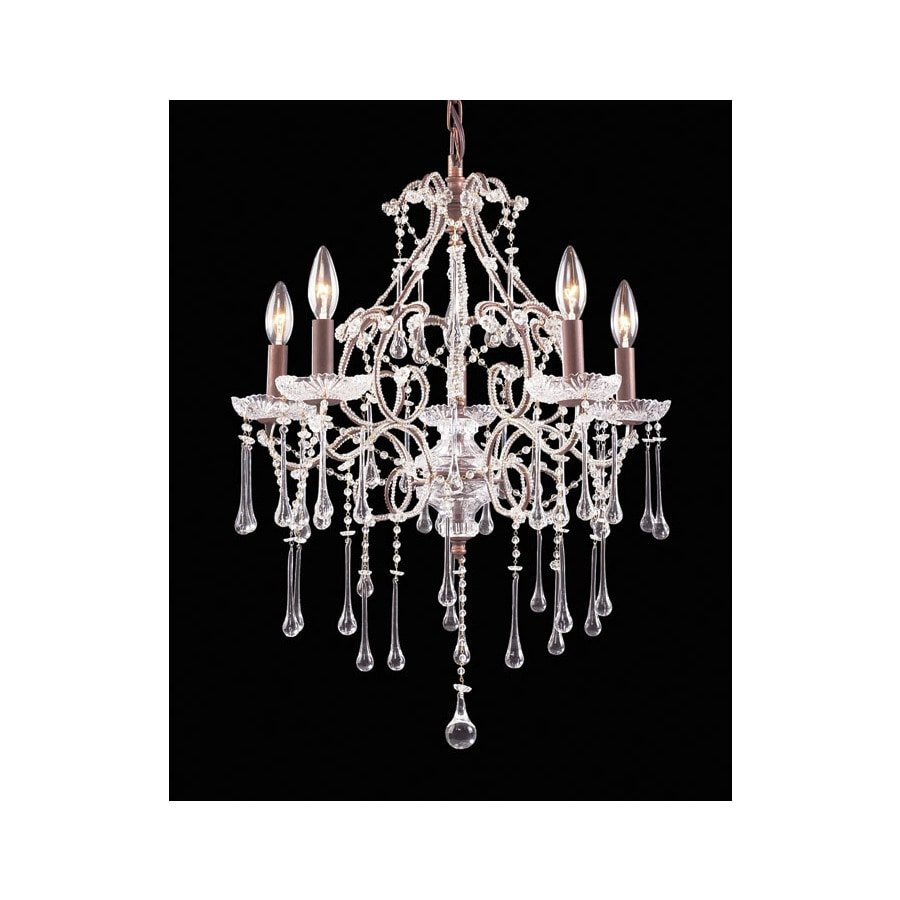 Westmore Lighting Whitehall 20-in 5-Light Rust Crystal Candle Chandelier