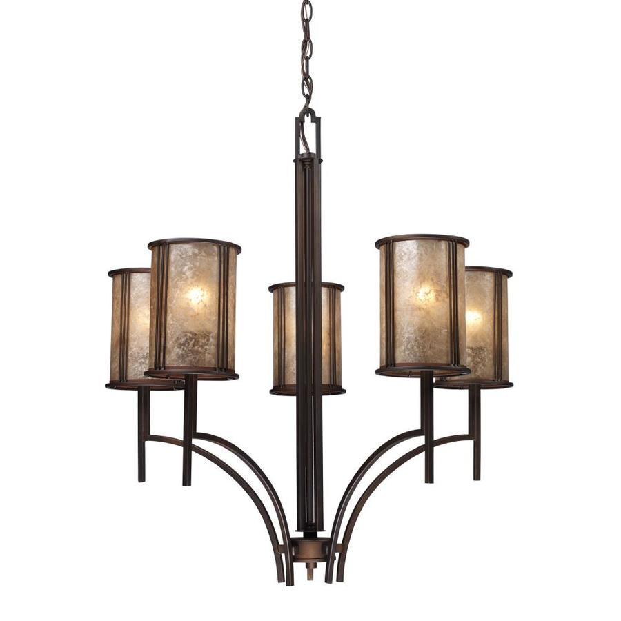 Westmore Lighting Squires 29-in 5-Light Aged Bronze Craftsman Tinted Glass Shaded Chandelier