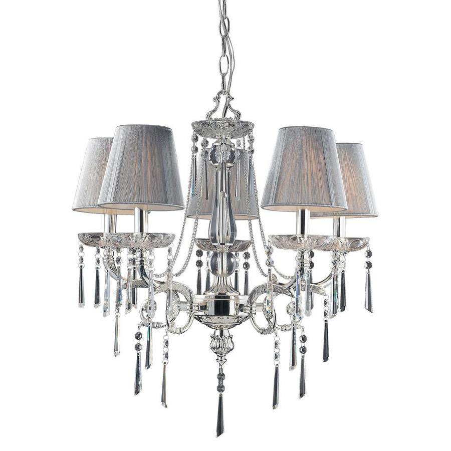 Westmore Lighting Mara 23-in 5-Light Polished Silver Shaded Chandelier