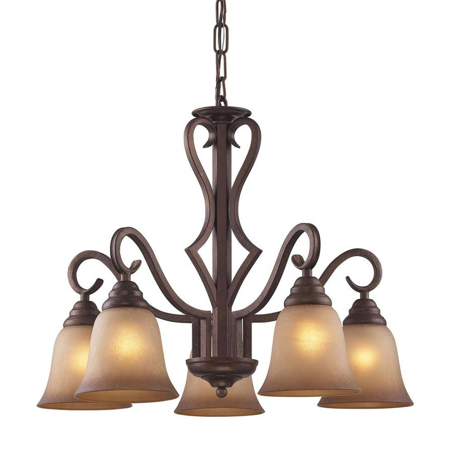 Westmore Lighting Laughlin 24-in 5-Light Mocha Tinted Glass Shaded Chandelier