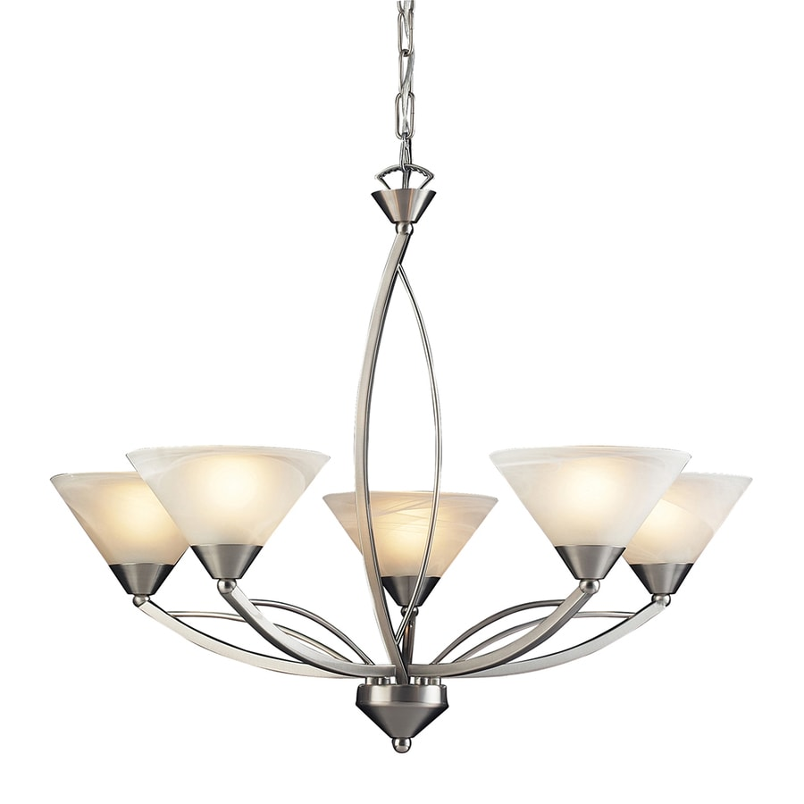 Westmore Lighting Beckett 28-in 5-Light Satin Nickel Marbleized Glass Shaded Chandelier