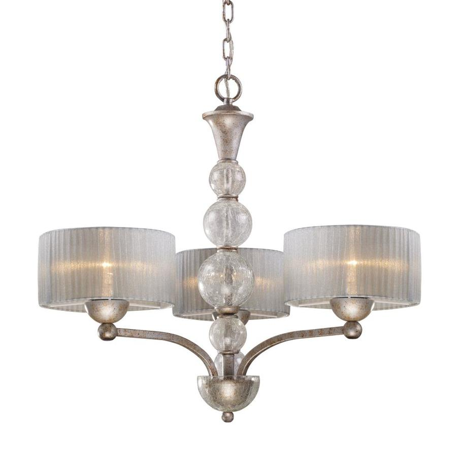 Westmore Lighting D'Orsay 25-in 3-Light Antique Silver Shaded Chandelier