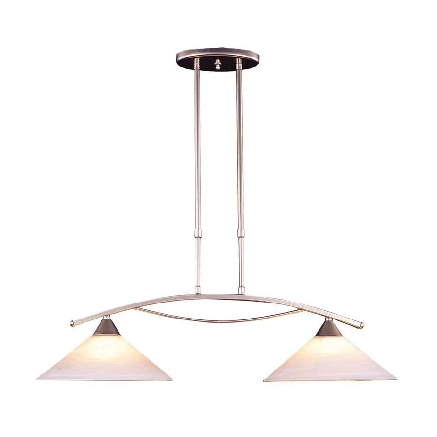 Westmore Lighting Beckett 31-in W 2-Light Satin Nickel Kitchen Island Light with White Shade
