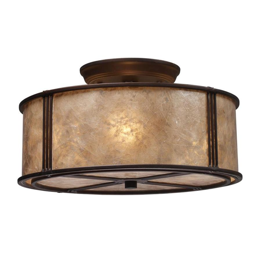 Westmore Lighting Squires 13-in W Aged Bronze Tea-Stained Glass Semi-Flush Mount Light