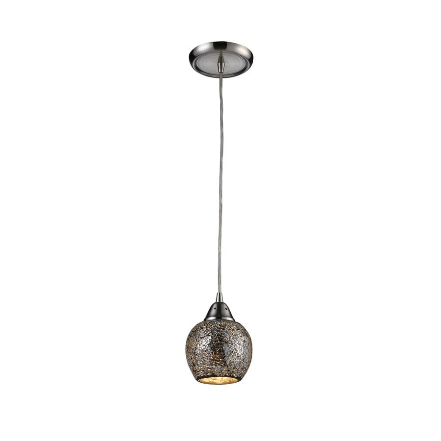Westmore Lighting 5-in Satin Nickel Mini Textured Glass Pendant
