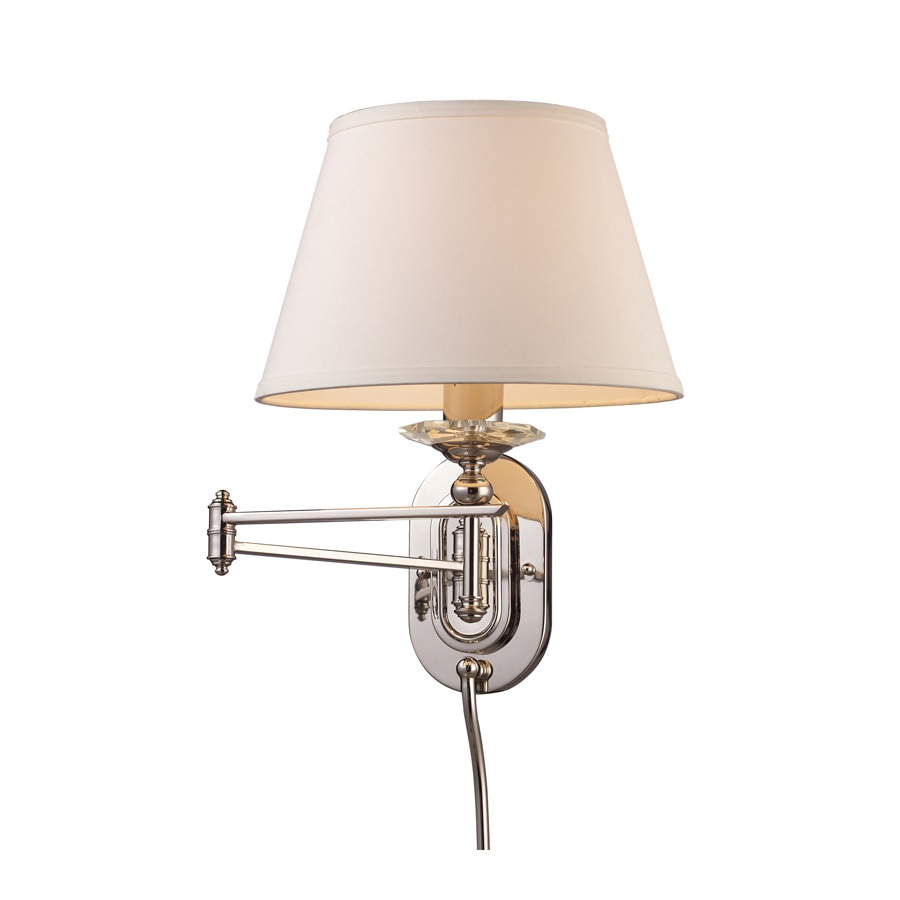Plug In Wall Lamps Lowes : Shop Westmore Lighting 12-in W 1-Light Polished Nickel Arm Hardwired/Plug-in Wall Sconce at ...