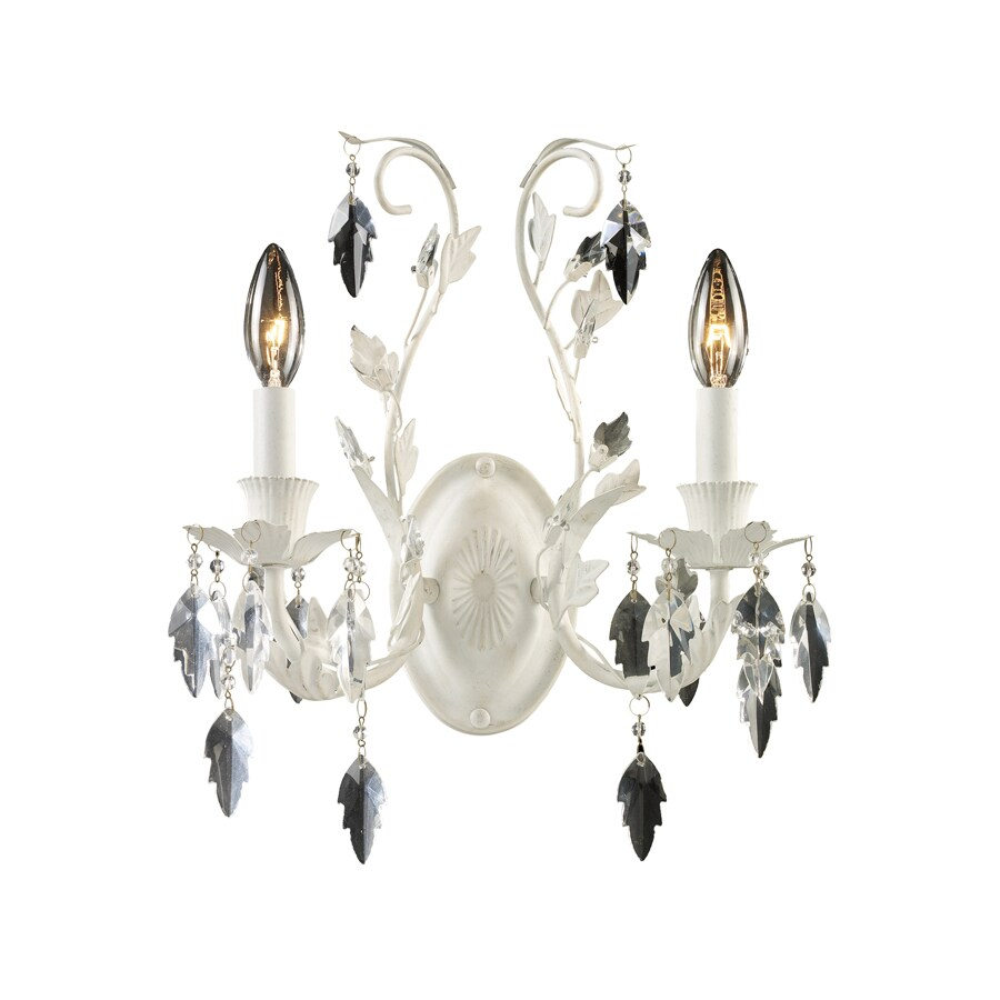 Westmore Lighting 13-in W 2-Light Antique White Crystal Arm Hardwired Wall Sconce